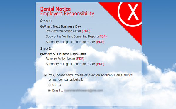 FCRA Compliance Letter Notifications VeriFirst