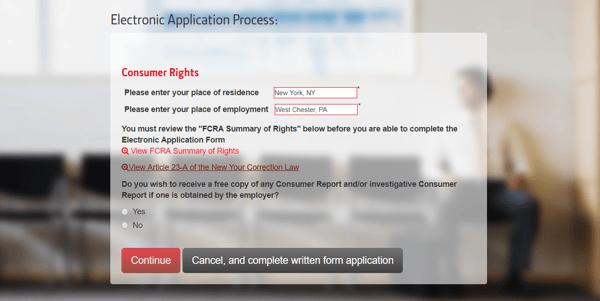 Online Applicant Consent Language Sample
